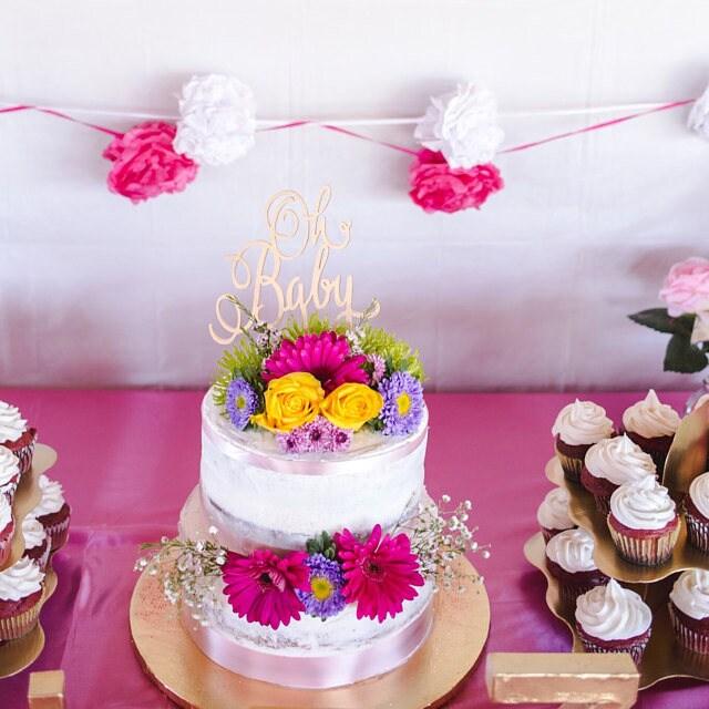 Gender Reveal Cake, Baby Shower Cake, Oh Baby Cake Topper, Baby Girl, Baby  Boy, Rustic Cake Topper, Wooden Cake Topper, Glitter Cake Topper