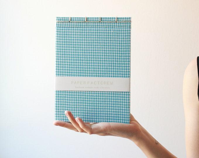 Handmade notebook, bookbinding, japanese bookbinding, minimal blue notebook, blue notebook, made in barcelona, blue vichy pattern