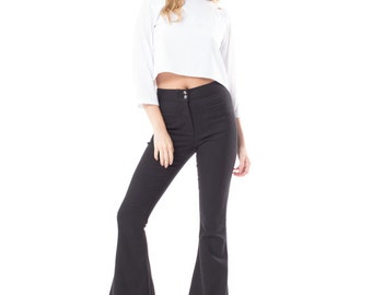 Stretch Twill High Waisted Bell