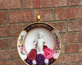 Frozen Charlotte Doll Vintage Teacup Christmas Ornament Assemblage Altered Art Flowers English Tea by Laurie Roy Art