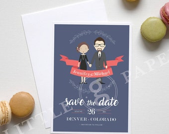 Save the Date, Personalized Illustration Engagement, Printable Custom Design