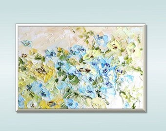 Original Oil Painting Abstract Flower Painting Impasto Painting Large Painting Yellow Blue Flowers Custom Bouquet Painting Beige White