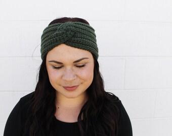 Forrest Green - Crochet/Knit Turban Headband Ear Warmer