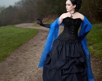 Taffeta bustle pick-up skirt in black gothic steampunk CUSTOM sale