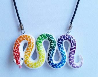 White Rainbow Snake Pendant Necklace. Colorful Polymer Clay Animal Jewelry.