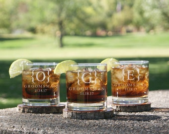 Set of 10 Groomsmen Gifts, Personalized Whiskey Glasses, Unique Groomsmen Gifts, Best Groomsmen Gifts, Groomsmen Scotch Glasses, Highball