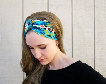Turquoise Native American Headband for Women, Native American Hair Accessories, Southwestern Print Headband, Faux Head Wraps For Women