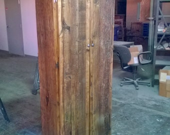 Rustic Double-Door Jelly Cabinet (Reclaimed Wood)