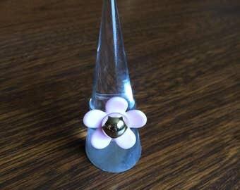 Pink & Gold Flower Ring - adjustable