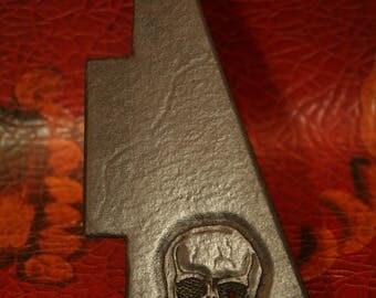Leather Pick Guard -  Les Paul  - Hand Tooled Skull