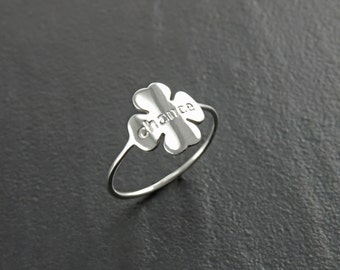 Chance Clover Ring, Sterling Silver, Four Leaf Clover Charm, Irish Shamrock Ring, Quatrefoil Good Luck Jewelry, Saint Patrick's day Gift