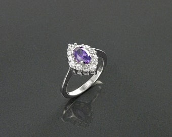 Small Amethyst Marquise Ring, Halo Ring, Lab Diamond Amethyst, Sterling Silver, Engagement Ring, Valentines Day Mothers, Cluster Stones Ring
