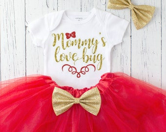 baby girl valentines day outfit - mommys love bug valentines outfit - baby girl clothes - 1st valentines day - girl valentines day outfit