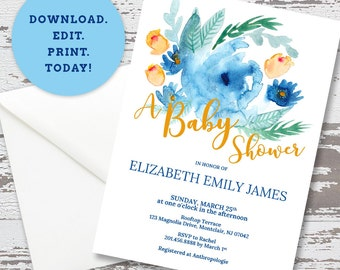 Editable Floral Baby Shower Invitation Template, DIY Instant Download PDF, Blue Flower Invite, Watercolor Invitations, Printable, PH_01