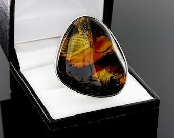 Unique Gemstone Ring, Unique Silver Ring, Unique Ring, Silver Ring, Oval Amber Ring, Sterling Silver Gemstone Ring, Oval Gemstone Ring