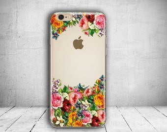 iPhone 7 Case Floral Clear iPhone 7 Plus Case i7 Case Clear iPhone 6 Case iPhone 6s Plus Case i6 Case iPhone Case Christmas Gift //231