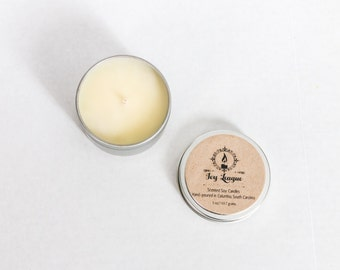 ANY FOUR SCENTS; Scented Soy Candle; 6 oz. Tin; Hand Poured Soy Candle; Scented Wax; Soy Wax; Soy; Candle; Gift; Gift Ideas; Relaxation;