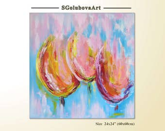 Original Wall decor Art gift for her Tulip Painting Turquoise painting Spring flowers Tulips Modern Art Acrylic Painting Original Fine Art