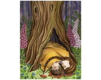 Tree Hollow: Grimm's fairy tale print, Woodland, Forest illustration, Pansies, Children's art, Fine art print, Tree art, Foxglove, Storybook