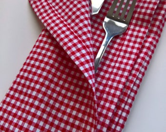 Red Gingham Cloth Napkins, Red Gingham Dinner Napkins, Red and White Checkered Napkins, Picnic Napkins, 4th of July Napkins, BBQ Napkins
