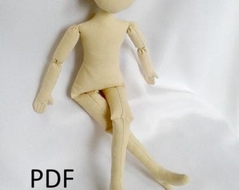 "PDF Doll Pattern with shoes  17"" doll blank body sewing doll body pattern"