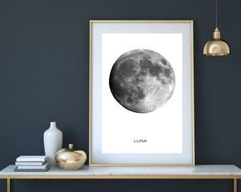 Moon Print, Luna print, moon poster, moon, moon art, planet print, circle print, minimalist print, astronomy print, moon phases,