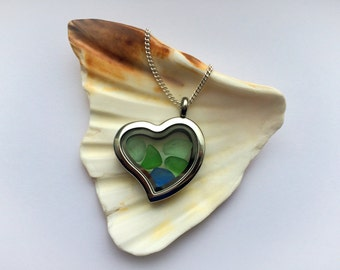 Sea Glass Heart Locket, Sea Glass Locket, Heart Locket, Sea Glass Heart Pendant, Sea Glass Jewelry