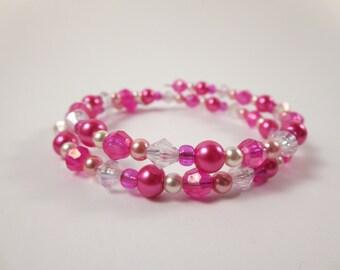 Pink Wrap Bracelet / Memory Wire Bracelet / Beaded Bracelet / Beaded Wrap Bracelet / Pink White Bracelet / Bridesmaid Gift / Womens Bracelet