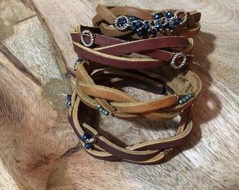 Mystery braid leather bracelet with beading