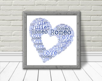 PERSONALISED Word Cloud Download Personalised 4 you two, instant Printable gift for your love or BFF, Blue Heart Typography Word Cloud Art