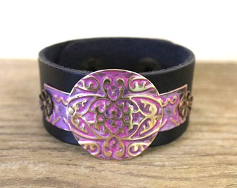 Leather Bracelets for Women, Leather Cuff Bracelets, Vintaj Jewelry, Boho Jewelry, Purple Bracelet, Brass Jewelry, Bohemian Jewelry
