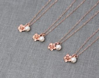 Rose Gold Bridesmaid Necklace, Bridesmaid Gift Set of 4, Bridesmaid Necklace Rose Gold Flower Jewelry