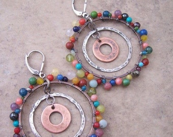 Boho gemstone hoop earrings - Multi-colored gemstones - Hoop earrings - Mixed metal jewelry
