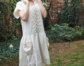 Elven Dress, White Hooded Dress, Women Hoodie, Mid Century Dress, Peasant Dress, White Cotton Dress, Crochet Dress, White Maxi Dress