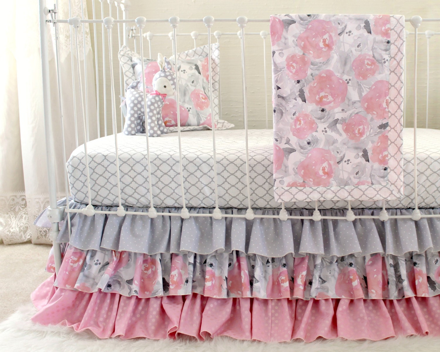 Pink Gray Crib Bedding Watercolor Floral Baby Bedding Grey
