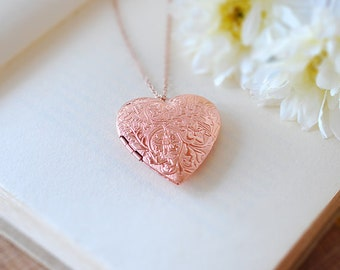 Rose Gold Heart Locket Necklace, Etched Picture Locket,, Heart Jewelry, Gift for her, rose gold jewelry, Graduation Gift, Gift for Mom