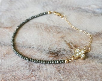 Gold Pyrite Bracelet with CZ Clover Charm