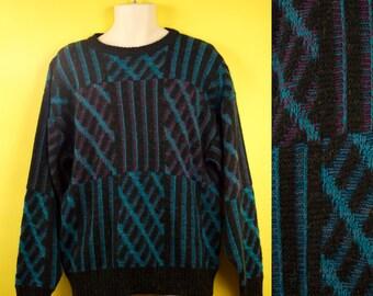 Vintage Grandpa Sweater Knit Unisex Men's XL Nerd, Geek, Korea, Pattern, Blue, Purple, Black by Method / 80's