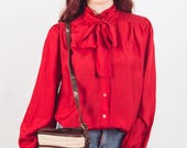 Red Silk blouse , ascot tie blouse, pussy bow, secretary blouse, silk top , silk shirt size medium us 8