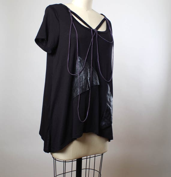 Black Leather T-shirt - Up-cycled Black T-shirt - Black Women T-shirt - Leather and Rayon Top - Dark Fashion