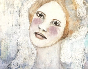 Mixed Media Portrait Painting. Woman. Face. Canvas Art. Bride. Neutral.