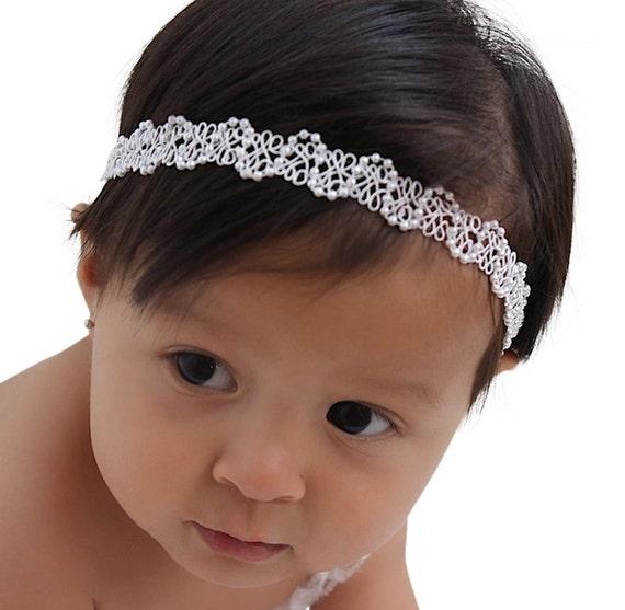 White Headband for Girls, Baptism Gift, Baptism Headband,Baptism Headband for Girls, Baby Girl Headband, Infant Headbands, Baptism Headpiece