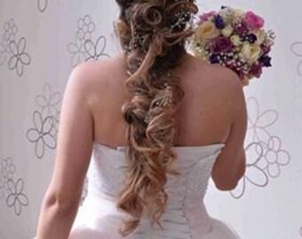 Bridal Hair Vine Wedding Hair Vine Flower Hair Vine Long Hair Vine Silver Pearl Hair Vine Bohemian Bridal Headpiece