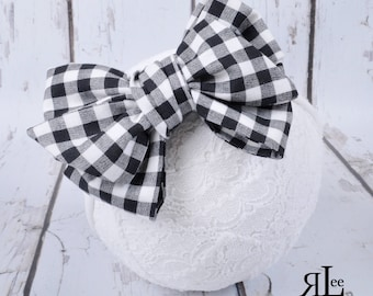 Black and White Check Bow - Black and White Headband - Black and White Clip - Faux Headwrap Bow