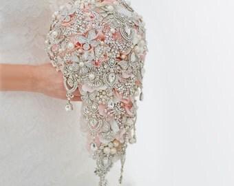 Custom Silver Teardrop Brooch Bouquet, Butterfly Bouquet, Cascading Bridal Bouquet, Blush Silk Flower, Crystal Wedding Bouquet - 9 inch
