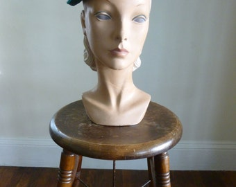 50's Hat Beaded Emerald Green Designer Cocktail Hat Sally Victor