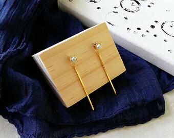Debonair Marble Collection | Howlite Earrings, Minimalist Earrings, Geometric Earrings, Ear Jackets, Bar Earrings, Gift for her