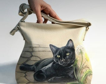 Painted leather bag Cat bag Hand Painted cat purse Beige leather handbag leather purse art bag unique purse cat lovers gift for women