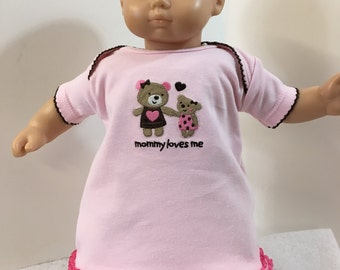 "15 inch Bitty Baby Clothes, Mommy & Baby BEAR ""Mommy LOVES Me"" Adorable Pink Dress, 15 inch AG Doll Bitty Baby Clothes, Fits 16 inch CPKKids"