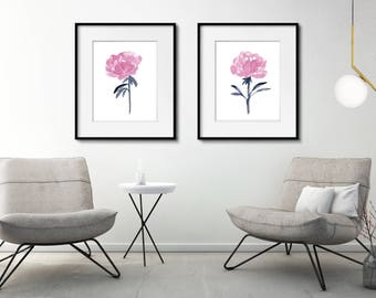 Pink Peony Set of 2, Flower Art Print Peonies, Abstract Painting, Watercolor Flowers, Pink Home Decor, Floral Display Living Room Decoration
